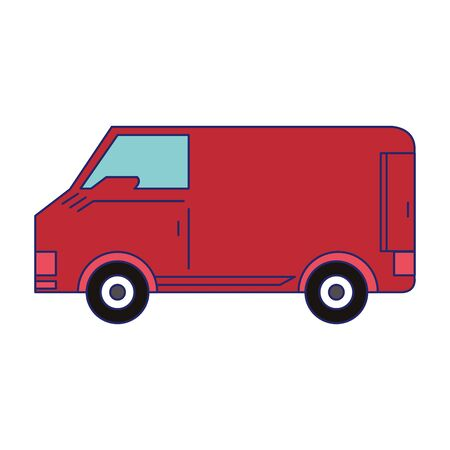 Delivery van vehicle side view isolated symbol vector illustration graphic design Banque d'images - 130774703