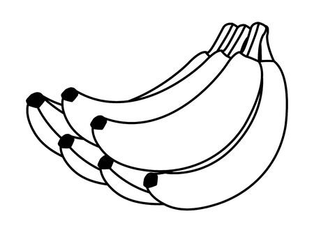 exotic tropical fruit banana cluster icon cartoon in black and white vector illustration graphic design Vetores