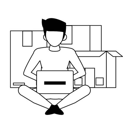 man using laptop computer technology for logistic and delivery tracing cartoon vector illustration graphic design 일러스트