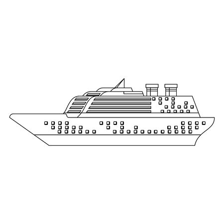 Cruise ship boat side view isolated vector illustration graphic design Иллюстрация