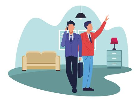 Two business partners working, executive entrepreneur teamwork inside house with furniture scenery vector illustration graphic design. Illustration