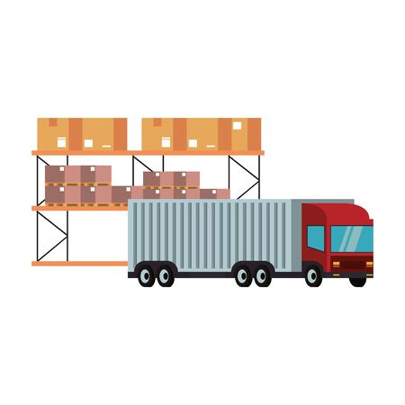 Cargo truck parked in front of boxes on shelf vector illustration Illustration