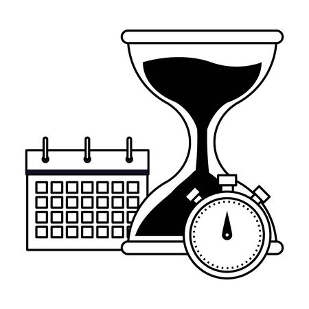 hourglass sand timer with chronometer and calendar icon cartoon in black and white vector illustration graphic design Stock Illustratie