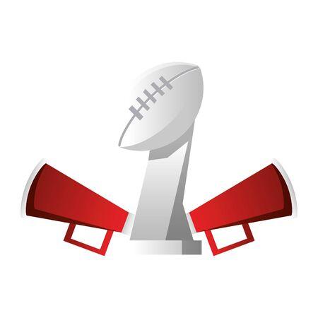 american football sport game champion trophy with megaphones cartoon vector illustration graphic design