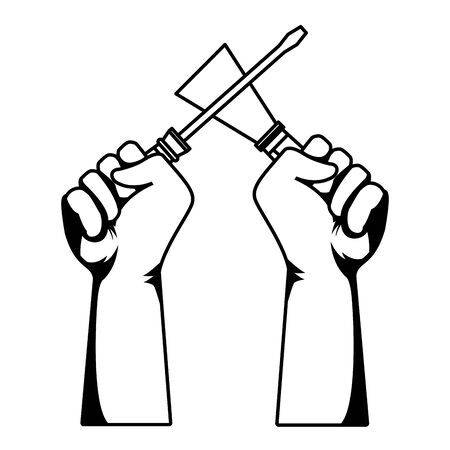Construction workers hands holding screwdriver and spatula tools vector illustration graphic design.