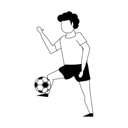 Young man playing with soccer ball isolated vector illustration graphic design