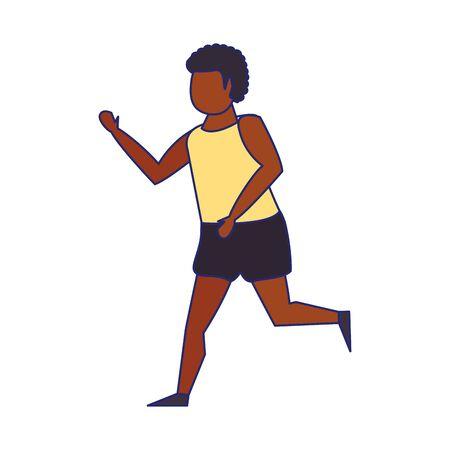 Fitness man running isolated cartoon vector illustration graphic design Stock Illustratie