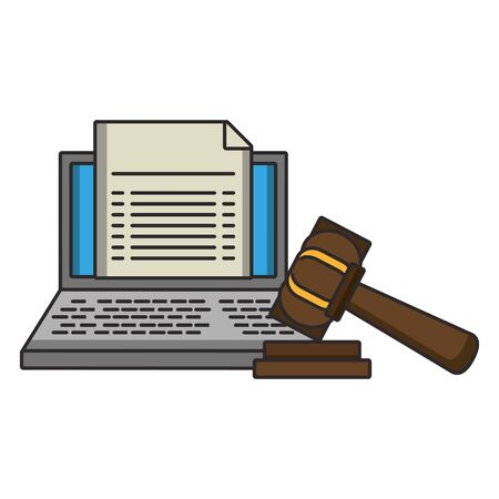 Laptop with document and justice gavel symbol vector illustration