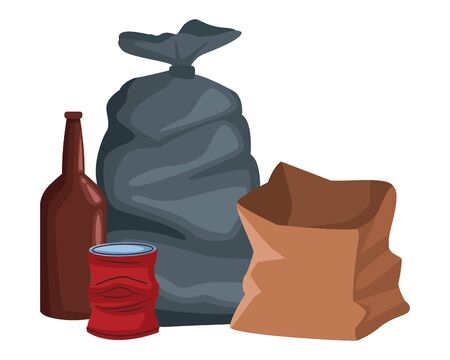 garbage bag, glass bottle, crumpled can and paper bag icon cartoon vector illustration graphic design