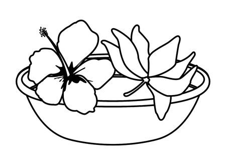lotus blossom flowers nelumbo nucifera gaertn with a bowl icon cartoon in black and white vector illustration graphic design