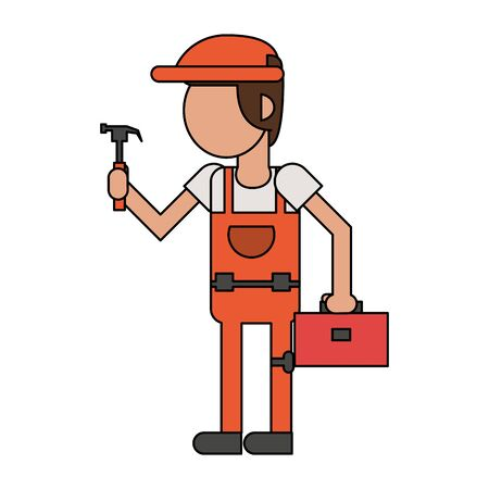 Construction worker smiling with toolbox and hammer cartoon isolated vector illustration graphic design