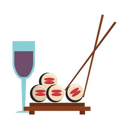 restaurant, nourriture et cuisine, sushi, à, baguettes, et, verre, à, vin, icône, dessins animés, vecteur, illustration, graphisme
