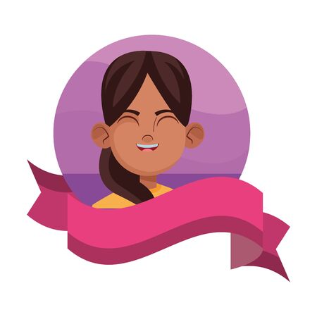 little kid girls face afroamerican avatar cartoon character profile picture portrait in round icon with ribbon Vecteurs