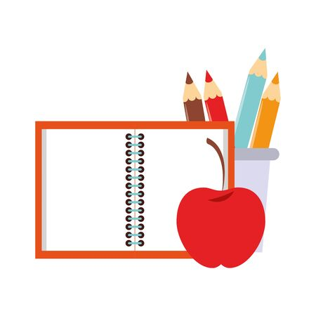 Back to school education notebook and apple with pencils in cup cartoons vector illustration graphic design Çizim
