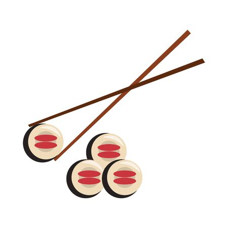 restaurant food and cuisine sushi with chopstick icon cartoons vector illustration graphic design