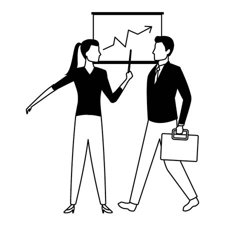 business business people businessman carrying a briefcase and businesswoman holding a wand avatar cartoon character in black and white