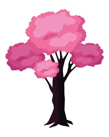 leafy and colorful tree icon with pink foliage isolated cartoon vector illustration graphic design