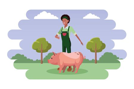 farm, animals and farmer afroamerican woman wearing bandana and overall with pig avatar cartoon character over the grass with shruberry, trees and clouds vector illustration graphic design Ilustrace