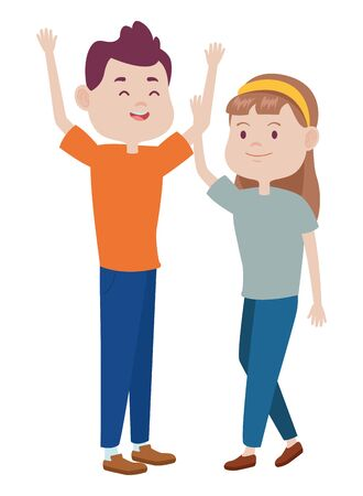 Teenagers friends boy and girl with casual clothes smiling and greeting cartoons ,vector illustration graphic design.  イラスト・ベクター素材