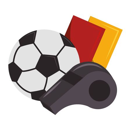 Soccer sport game referee whistle with cards and ball isolated vector illustration graphic design Stock Illustratie