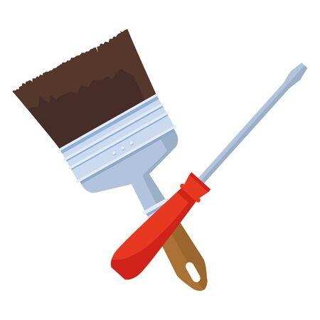 Construction tools screwdriver and paint brush crossed cartoon symbol vector illustration graphic design. 向量圖像