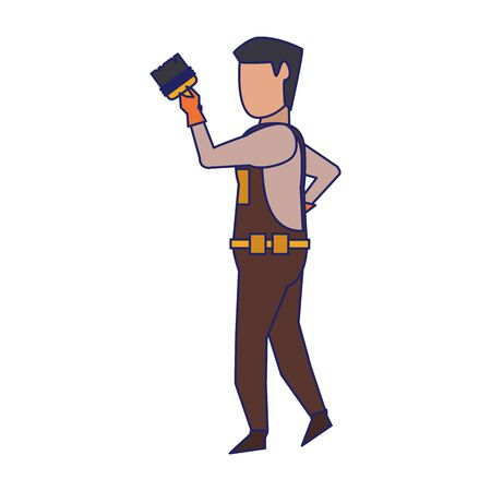 Construction worker using paint brush isolated vector illustration graphic design