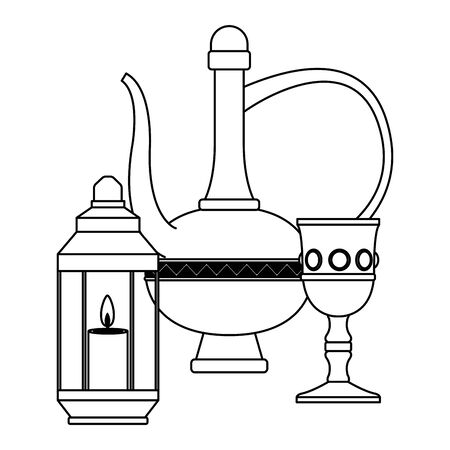 Magic lamp with luxury chalice and lantern with candle vector illustration graphic design