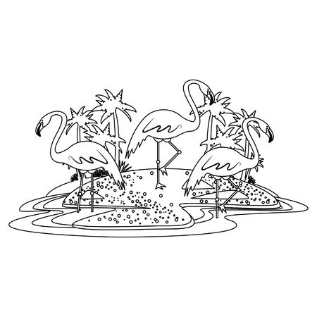Flemish on island with palms icon cartoon isolated in black and white vector illustration graphic design