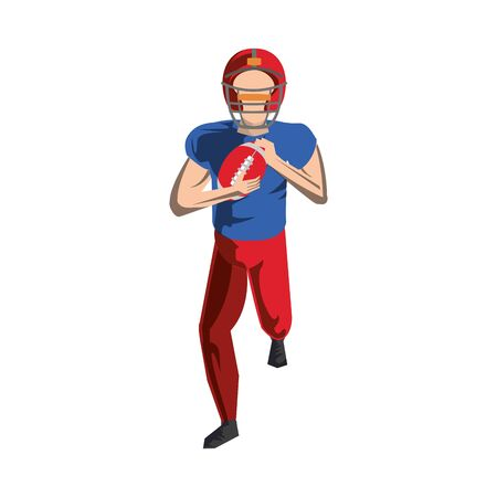 american football sport game player training with ball and wearing helmet cartoon vector illustration graphic design 向量圖像