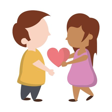 Kids in love girl holding heart cartoon vector illustration graphic design