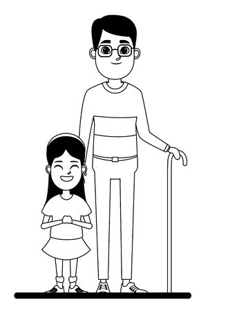 family avatar grandfather with glasses and cane next to a child profile picture cartoon character portrait in black and white vector illustration graphic design Иллюстрация