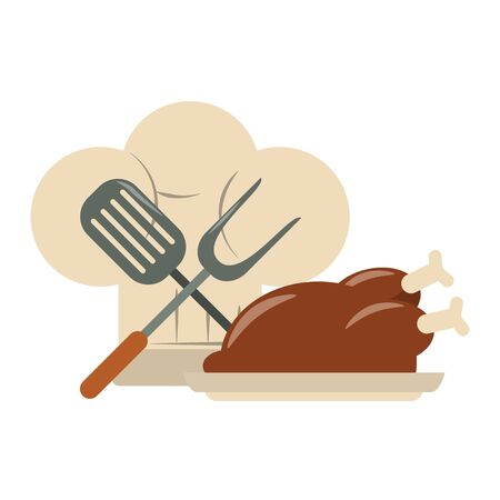 restaurant food and cuisine chef hat, crossed kitchen spatula and big fork and roaster chicken icon cartoons vector illustration graphic design 일러스트
