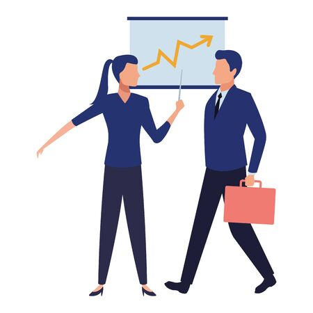 business business people businessman carrying a briefcase and businesswoman holding a wand avatar cartoon character vector illustration graphic design