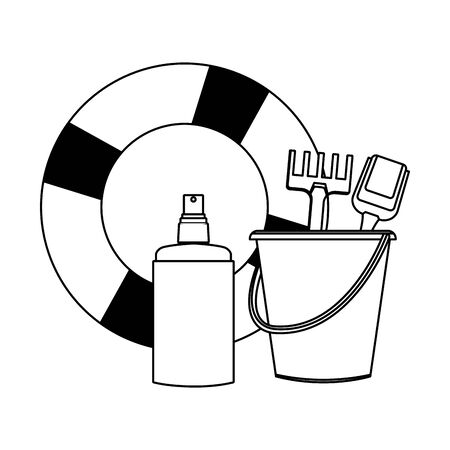 summer beach and vacation with lifebuoy, sand bucket with slove and rake toys and sunscreen jar icon cartoon in black and white vector illustration graphic design