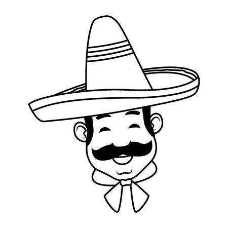 mexican man face with moustache and mexican hat in black and white vector illustration graphic design