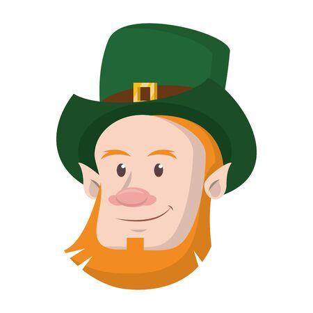 saint patricks day irish tradition green leprechaun face cartoon vector illustration graphic design
