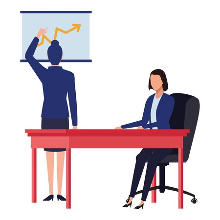 business business people businesswoman back view pointing a data chart and businesswoman sitting on a desk avatar cartoon character vector illustration graphic design Illusztráció
