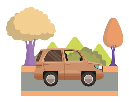 SUV car vehicle side view cartoon on highway with landscape scenery ,vector illustration graphic design. Banque d'images - 130992416