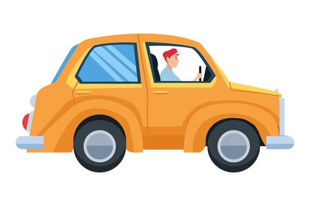Man driving car vehicle side view cartoon vector illustration graphic design.