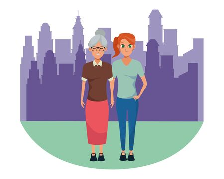 Family mother with adult daugther together cartoon in the city urban scenery background ,vector illustration graphic design.