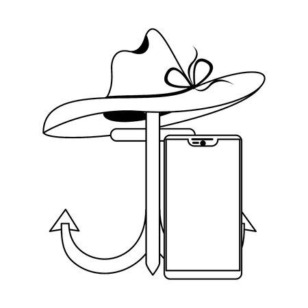 Summer and travel anchor and hat with smartphone cartoons vector illustration graphic design