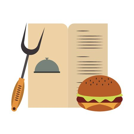Barbecue food hamburger menu and fork vector illustration graphic design
