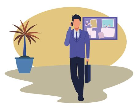 Executive businessman talking on phone and holding briefcase in the office with corkboard and plant pot ,vector illustration graphic design.