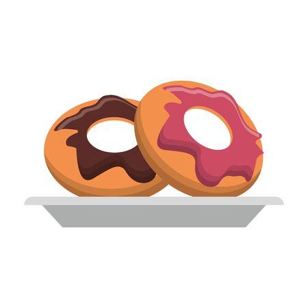Donuts desserts on dish cartoon vector illustration graphic design