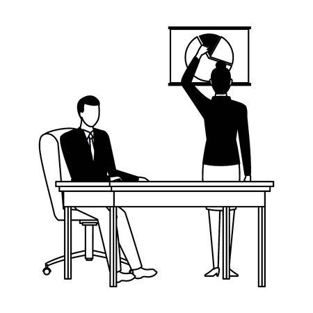 business business people businesswoman back view pointing a data chart and businessman sitting on a desk avatar cartoon character in black and white