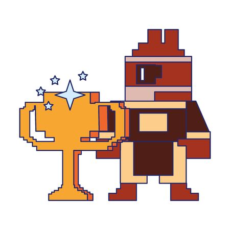 Videogame pixelated character with trophy cup vector illustration graphic design Иллюстрация