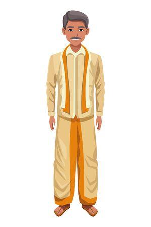 indian man with moustache wearing traditional hindu clothes profile picture avatar cartoon character portrait vector illustration graphic design Illusztráció