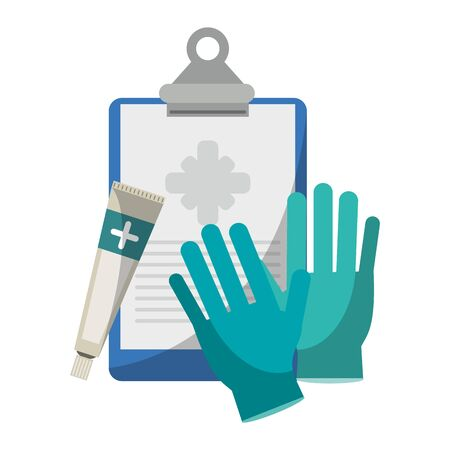Medical equipment and supplies clipboard gloves and cream vector illustration graphic design.
