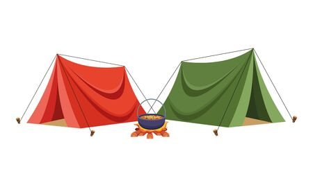 Camping tents with soup in bonfire ,vector illustration .graphic design.