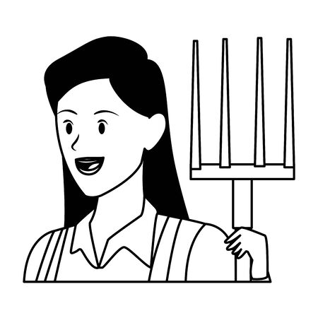 woman face with a rake avatar cartoon character in black and white vector illustration graphic design